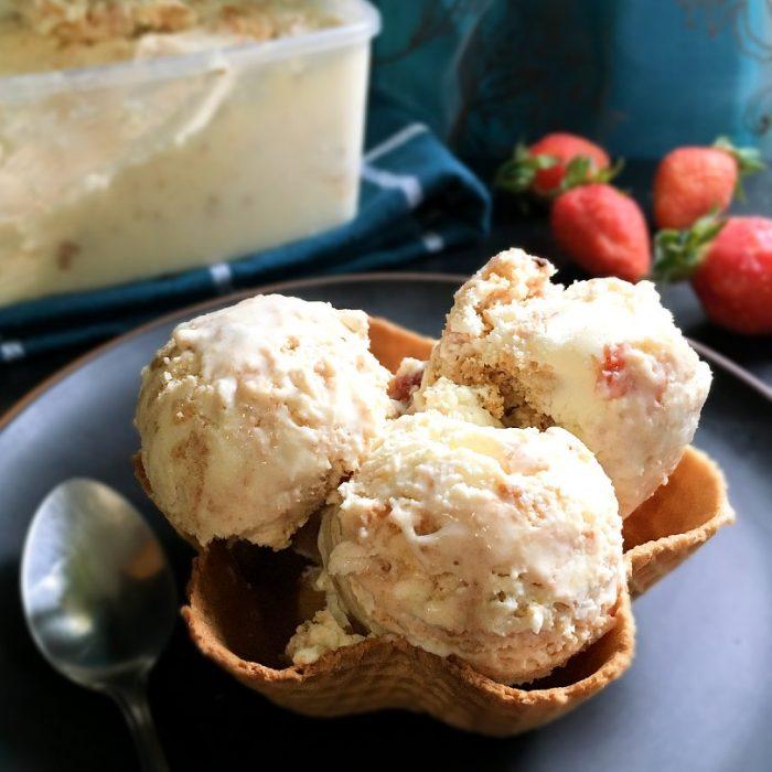 strawberry cheesecake ice cream in a cone!