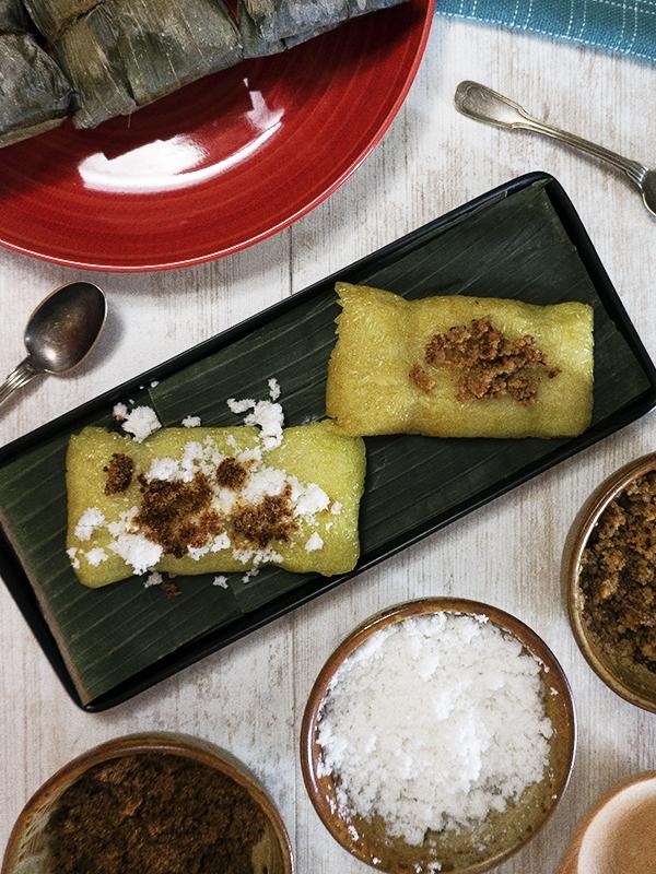 suman bulagta on banana leaves covered plate
