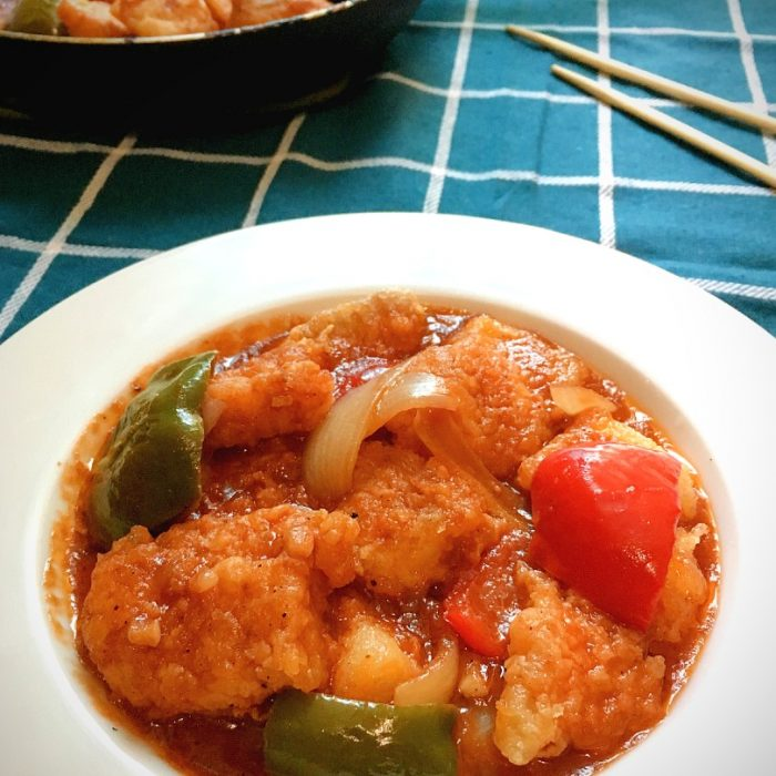 sweet and sour fish on plate