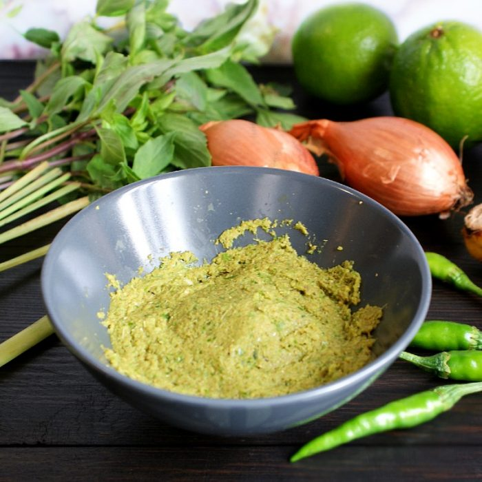 thai green curry paste in a bowl
