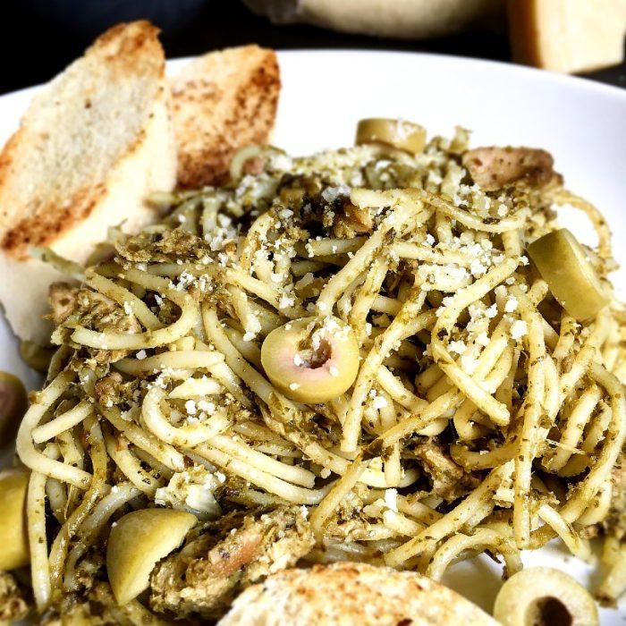 tuna pasta pesto with olives