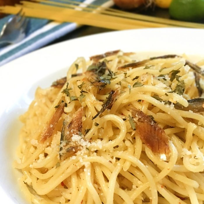 tuyo pasta with parmesan cheese