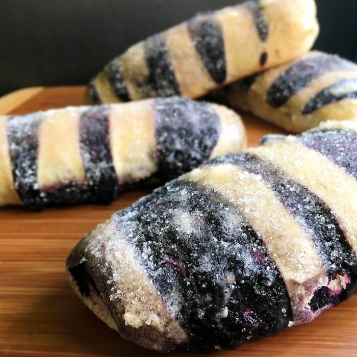 ube bread with sugar sprinkle