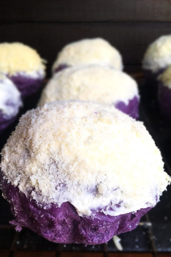 ube ensaymada on cooling rack