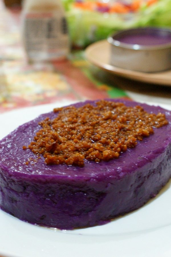 ube halaya with coconut curd on top