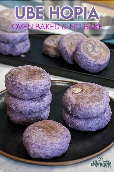 purple yam pastries stacked on top of each other
